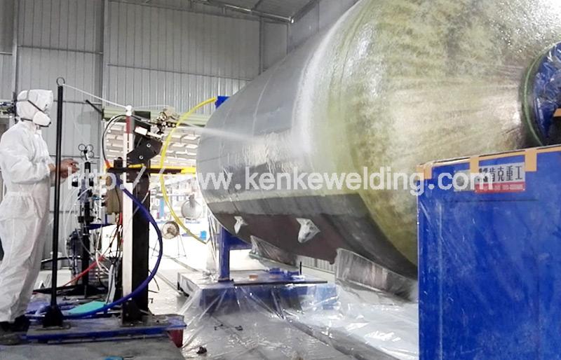 Fiber Resin Coating on Oil Tank